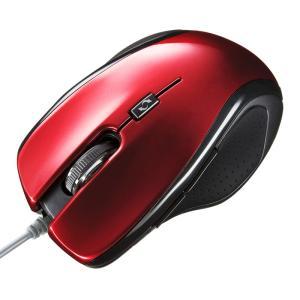 マウス ブルーLEDマウス 5ボタン レッド(MA-117HR)(即納)|sanwadirect