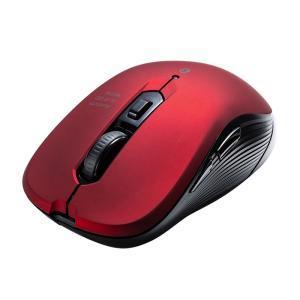 Bluetoothマウス ブルーLED 5ボタン レッド(即納)|sanwadirect