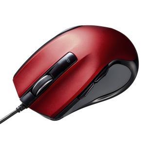 有線ブルーLEDマウス レッド(MA-BL11R)(即納)|sanwadirect
