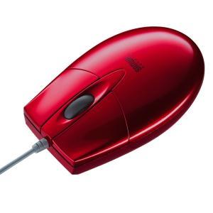 マウス ブルーLEDマウス 有線 レッド 3ボタン(MA-BL2UPR)(即納) sanwadirect