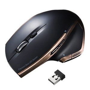 ワイヤレスブルーLEDマウス ブラック 8ボタン(MA-WBL34BK)(即納) sanwadirect