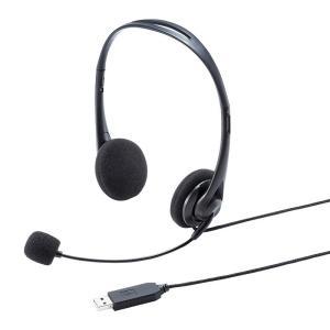 USBヘッドセット 無指向性 スタンダード 軽量(MM-HSU09BK)(即納)|sanwadirect