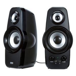 2WAY 高音質スピーカーアクティブスピーカーブラック(MM-SPL9BK)(即納)|sanwadirect