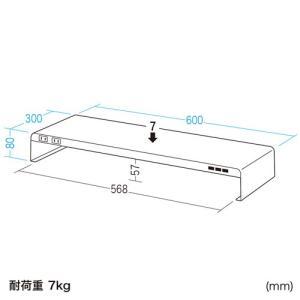 机上ラック 電源タップ+USBポート付き/W600×D300mm ブラック(MR-LC203BK)(即納) sanwadirect 03