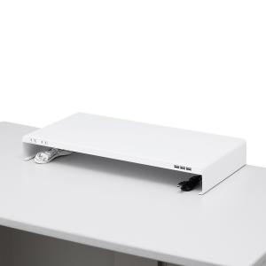 机上ラック 電源タップ+USBポート付き/W600×D300mm ホワイト(MR-LC203W)(即納)|sanwadirect