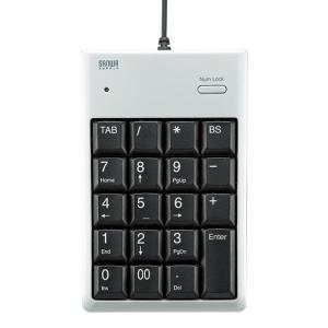 USB2.0ハブ付テンキー シルバー メンブレン 簡易パッケージ(NT-16UH2PKN)(即納)|sanwadirect