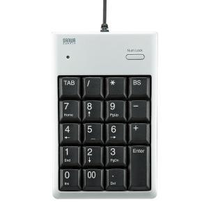USB2.0ハブ付テンキー シルバー メンブレン(NT-16UH2SVN)(即納)|sanwadirect