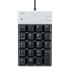 USBテンキー シルバー 薄型メンブレン 簡易パッケージ(NT-17UPKN)(即納)|sanwadirect