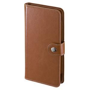 手帳型スマートフォンケース 6インチ ブラウン(PDA-SPC31BR)(即納)|sanwadirect