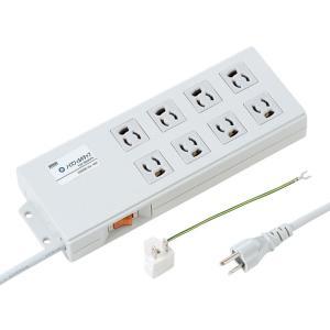 スイッチ付 節電タップ 延長 ノイズフィルタタップ 3Pプラグ 8個口 2m(TAP-3803NFN)(即納)|sanwadirect