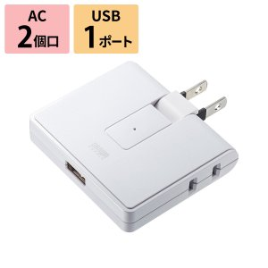 USB充電ポート付き電源タップ 2P 2個口 USB1ポート(TAP-B104U)|sanwadirect