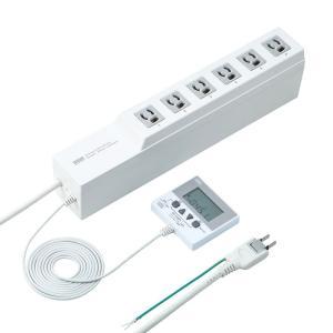 電源タップ タイマー付き 3P 6個口 3m(TAP-RT1)(即納)|sanwadirect