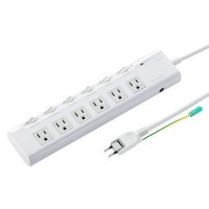 節電タップ 3P 6個口 2m(TAP-S23)(即納)|sanwadirect