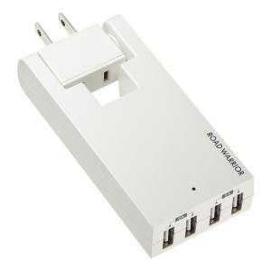 コンセント付USB充電器 スイング 4ポート 4A ホワイト(TR-AD3USBW)(即納)|sanwadirect