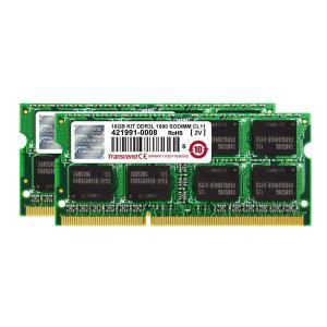 ノートPC用増設メモリ 16GB 永久保証(8GB×2)DDR3L-1600 PC3L-12800 SO-DIMM 1.35V低電圧 1.5V両対応 Transcend社製|sanwadirect