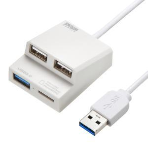 USB3.0+USB2.0コンボハブ カードリーダー付き USB3.0/1ポート USB2.0/2ポート ホワイト(USB-3HC315W)(即納)|sanwadirect