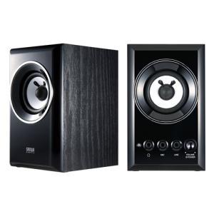 アウトレット 木製2chマルチメディアスピーカー ブラック アウトレット わけあり 訳あり(MM-SPWD2BKN)|sanwadirect
