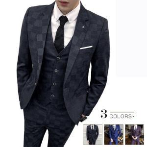 セットアップ メンズ スーツ フォーマル スリーピース スリム ワンボタン 韓国風 テーラード ビジネススーツ スラックス 通勤 結婚式 紳士服|sanwafashion