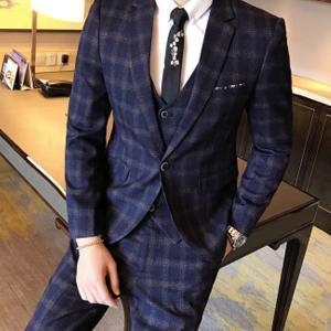セットアップ メンズ スーツ フォーマル スリーピース スリム チェック柄 ワンボタン テーラード ビジネススーツ スラックス 通勤 結婚式 紳士服|sanwafashion