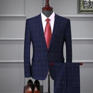 セットアップ メンズ スーツ フォーマル ツーピース ワンボタン チェック柄  シンプル  スリム テーラード ビジネススーツ スラックス 通勤 結婚式 紳士服|sanwafashion