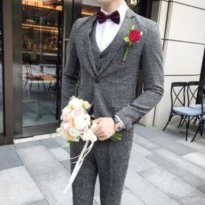 セットアップ メンズ スーツ フォーマル ワンボタン 3点セット韓国風 スリーピース スリム トレンド テーラード ビジネススーツ スラックス 通勤 結婚式 紳士服 sanwafashion