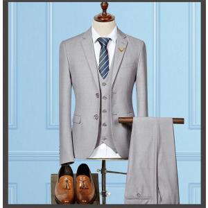 セットアップ メンズ スーツ フォーマル スリム スリーピース 無地 二つボタン おしゃれ トレンド テーラード ビジネススーツ スラックス 通勤 結婚式 紳士服|sanwafashion