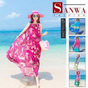 夏 旅行 リゾート ワンピース レディース サマードレス 袖なし 花柄  ファッション 体型カバー セクシー ママ スカート リゾートワンピ おしゃれ|sanwafashion