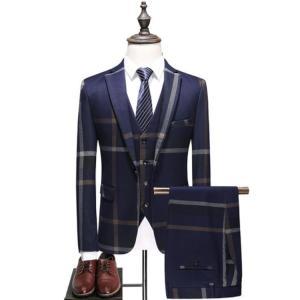 セットアップ メンズ スーツ フォーマル  3点セット  テーラード ビジネススーツ スラックス 通勤 結婚式 紳士服 sanwafashion