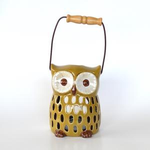 フクロウのキャンドルホルダー 小 フクロウ キャンドル ろうそく ランタン ホルダー 福郎 鳥 陶器 縁起物|sanwapotitto