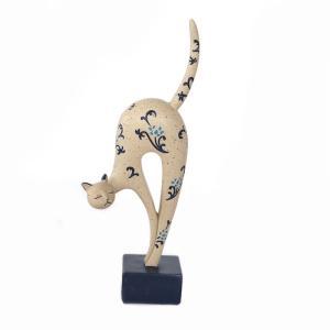 猫 背伸び猫 ねこ ネコ 台付き オーナメント オブジェ インテリア プレゼント ギフト  景品 オシャレ かわいい  sanwapotitto