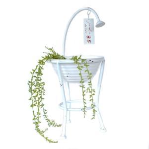 7061 シャワー プランターシャワーバケット シャワーボウルホワイト 植木鉢 ホワイト シャビーシック 底穴あり アイアン 鉢 オーナメント sanwapotitto