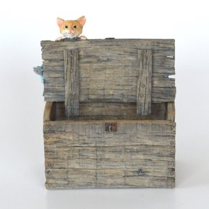 木箱の上からのぞく猫 ねこ 猫 ミニチュア 動物 かわいい 置き物 ギフト 飾り オブジェ|sanwapotitto
