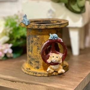 土管に猫とネズミ ねこ ネズミ ねずみ 猫 ミニチュア 動物 かわいい 置き物 ギフト 飾り オブジェ|sanwapotitto