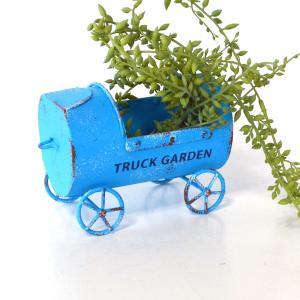 ミニトラックプランター ブルー AZ-1371 青 車 ミニカー ガーデニング 多肉植物 観葉植物 アンティーク ブリキ sanwapotitto