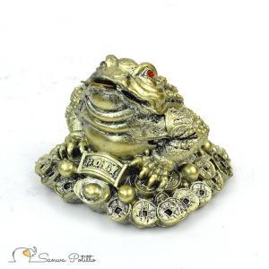 銭蛙 ゴールド 小サイズ D18033 高さ8cm 金  オブジェ 置き物 財運アップ 交通安全 家内安全 縁起物 運気アップ 招福|sanwapotitto