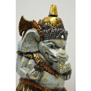 インドの神様 ガネーシャの置物 ガネーシャ 置物 ガネーシャ像 木製 特大 夢を叶える象 金運アップ 開運 商売繁盛 現世利益 送料無料 J5-4B 高さ37cm  |sanwapotitto