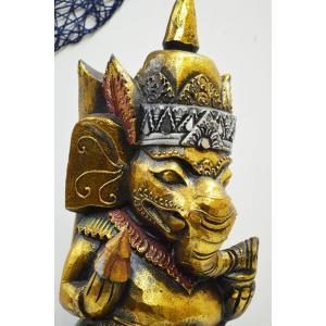 インドの神様 ガネーシャの置物 ガネーシャ 置物 ガネーシャ像 木製 特大 夢を叶える象 金運アップ 開運 商売繁盛 現世利益 送料無料 L3-1-3 高さ46cm  |sanwapotitto