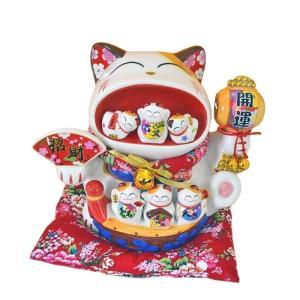 招き猫 まねきねこ まねき猫ファミリー 特大 宝船 白 笑い猫 置物 金運アップ 人運 開運招福 開店祝い 商売繁盛 千客万来 縁結び 子宝 縁起物 高さ29cm|sanwapotitto