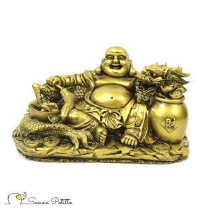 龍と布袋さん S18159 高さ17cm ゴールド 金 置物 財運アップ 金運アップ 開運 商売繁盛 厄除け 富貴吉祥の商品画像|ナビ