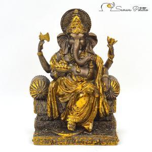 インドの神様 ガネーシャの置物 ガネーシャ 置物 ガネーシャ像 夢を叶える象 金運アップ 開運 商売繁盛 現世利益 T18187 高さ21cm|sanwapotitto