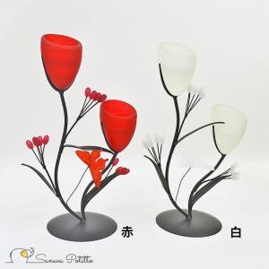キャンドルホルダー 花 フラワー X18223-18224 高さ28cm 赤 白ライト 間接照明 ヒ...
