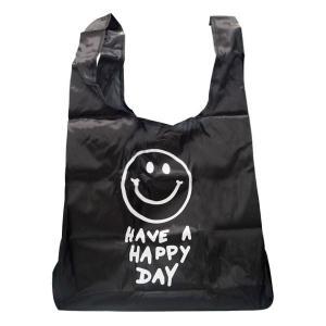 メール便可・スマイル エコバッグ ECO BAG SMILE BLACK(ブラック)|sanyodo-shop