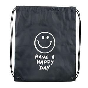 メール便可・スマイル KNAP SACK SMILE BLACK(ナップサック)エコバッグ ブラック|sanyodo-shop