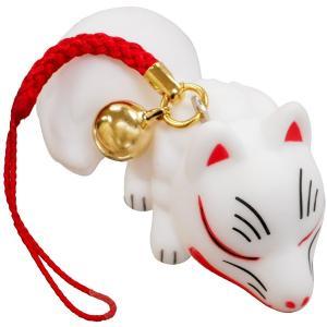 民芸品人形すくい 根付つき 狐(寝ころび) 鈴付ストラップ