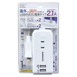 [5000円以上で送料無料] 旅行用品   2口電源タップ USBポート付き【T45520】 sanyodo