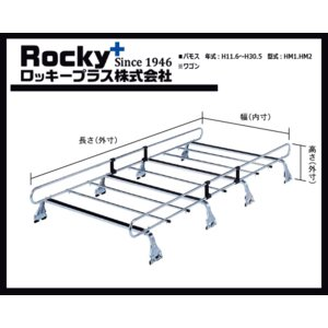 ロッキープラス ルーフキャリア バモス HM1.2系(ワゴン)STR-530 8本脚 スチール製 sanyodream 02