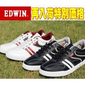 ローカット メンズ スニーカー 靴 エドウィン EDWIN 7026 カジュアル ホワイト ブラック 白 黒 カップインソール|sanyuukutu