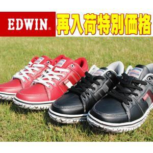 ローカット メンズ スニーカー 靴 エドウィン EDWIN 7173 カジュアル ブラック レッド 赤 黒 カップインソール|sanyuukutu