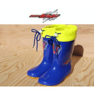 仮面ライダービルド レインブーツ 長靴 靴 男の子 キッズ 2025 ブルー ブラック 防水スニーカー 雪国 フード付 通園 15cm~19cm|sanyuukutu