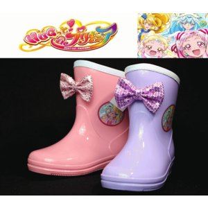 HUGっと!プリキュア レインブーツ 長靴 子供靴 キッズ ラメ リボン 女の子 5071 ピンク パープル 雨靴 防水 通園 普段履き|sanyuukutu